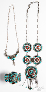 Silver and turquoise five-medallion necklace etc