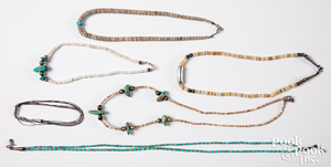 Five Native American heishi turquoise necklaces