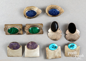 Five pairs of Native American Indian earrings