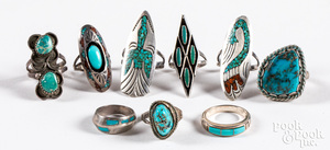 Nine Native American silver and turquoise rings
