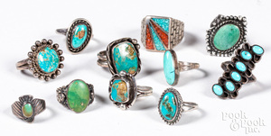 Ten Native American silver and turquoise rings