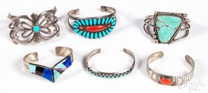 Six Native American Indian silver bracelets