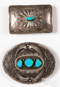 Two silver & turquoise Native American belt buckle