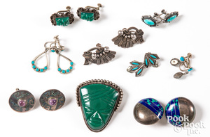 Native American Indian & Mexican earrings & pins