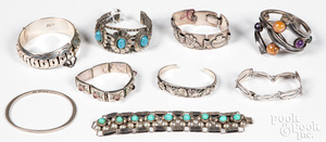 Silver Native Indian & Mexican bracelets