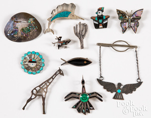 Native American Indian and Mexican pins & brooches