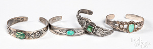 Four Native American silver & turquoise bracelets