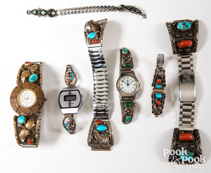 Group of silver Native American Indian watch bands