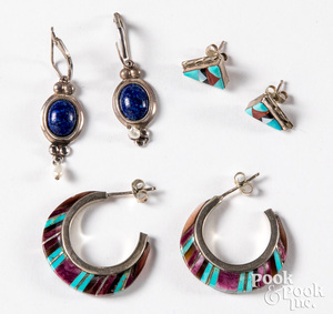 Two pairs of Zuni Indian turquoise earrings, etc.