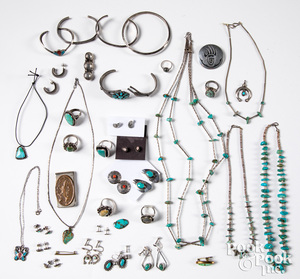 Vintage Native American silver & turquoise jewelry