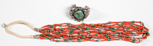 Navajo Indian silver and turquoise bracelet, etc.