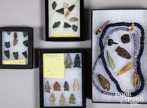 Native American Indian stone points, necklaces