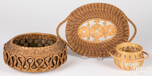Pasamaquoddy Indian ash and sweetgrass basket