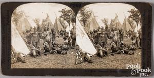 Keystone stereoview card Iroquois Indian Village