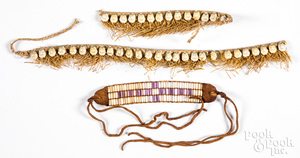 Shell bead arm band, in Iroquois wampum style