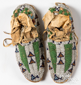 Pair of Sioux Indian beaded moccasins, ca. 1900