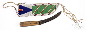 Sioux Indian beaded sheath with knife