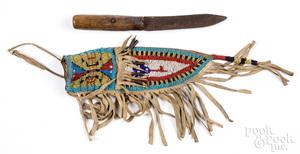 Teton Sioux Indian beaded sheath & knife