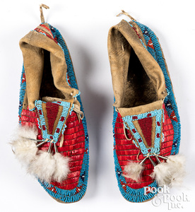 Pair of Sioux Indian beaded quill moccasins
