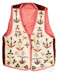 Santee Sioux Indian silk-lined beaded vest