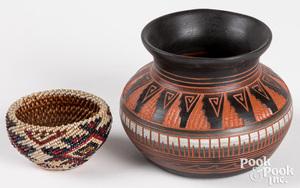 Paiute Indian beaded basket