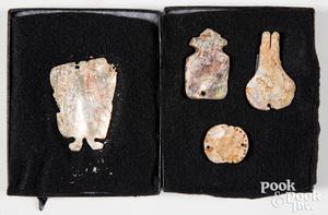 Excavated California abalone shell pendants