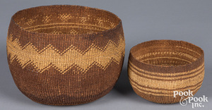 Two Northern California Indian twined baskets