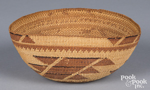 Hupa Indian twined basketry woman's cap