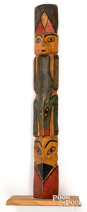 Northwest Coast carved and painted totem pole