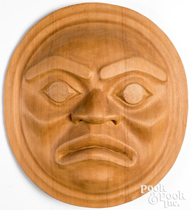 Northwest Coast carved Kwakuital Moon-Face mask