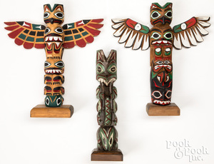 3 Northwest Coast carved and painted totem poles