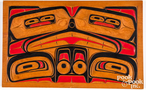 Tsimshian Indian carved and painted wood panel
