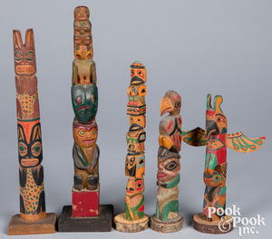 Five Northwest Coast carved & painted totem poles