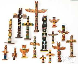 Sixteen Northwest coast Indian totem poles