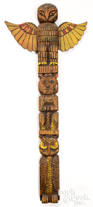 Northwest Coast Indian carved & painted totem pole