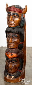 Carved mahogany Native American Indian totem pole