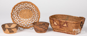 Four Native American Indian baskets