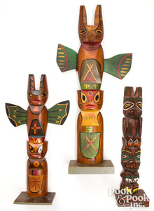 Two Northwest Coast Indian carved totem poles