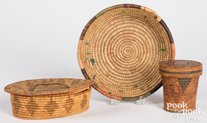Small Tlingit Indian woven lidded basket, etc.