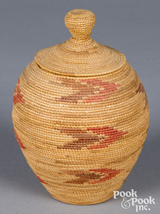 Alaskan Indian lidded trinket basket