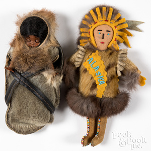 Two Alaska Native American Indian dolls