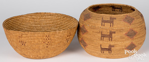 Two Alaskan Indian coiled baskets