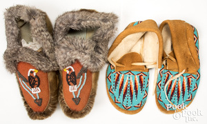 2 Pair of Inuit Indian beaded moccasins