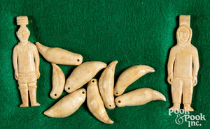 Inuit carved bone figures & drilled sea lion teeth