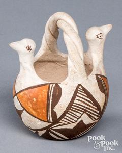 Acoma Indian polychrome bird head pottery basket