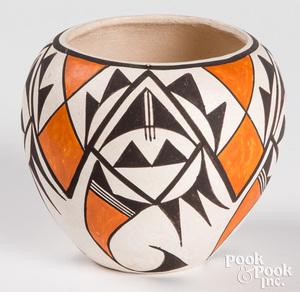 Acoma Indian polychrome pottery vessel