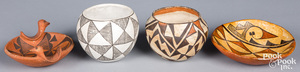 Four pieces of Acoma Indian pottery
