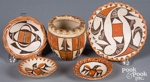 Group of Acoma Indian polychrome pottery