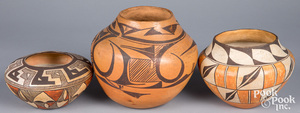 Two Acoma Indian polychrome pottery ollas, etc.