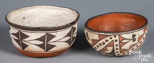 Two polychrome Acoma Indian pottery bowls